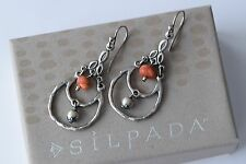 Silpada Sterling Silver Sponge Coral Hammered Bead Earrings Retired W1560 HTF