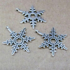 20pc Charms Christmas Snowflake Pendant Beads Accessories Jewellery Making H711H
