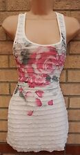 NEW LOOK WHITE RUFFLE FRILL FRONT LACE BACK PINK FLORAL TUBE TOP CAMI BLOUSE 8 S