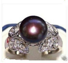 NEW HOT Fancy Freshwater BLACK PEARL BUTTERFLY RING SIZE :6-9#
