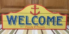 Wood WELCOME Friends Family Sailor Nautical Spring Cabin Decor Wall Man Cave