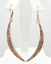 KIRKS FOLLY ASTRAL NEW MOON LEVERBACK EARRINGS CT/ ROSE GOLD CRYSTAL AB