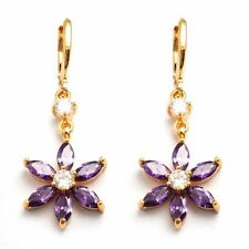 New 24K Gold Filled Amethyst Purple & Clear CZ Flower Gemstone Dangle Earrings