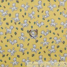 BonEful Fabric FQ Cotton Quilt Yellow White Blue Baby Nursery Lamb Sheep Flower
