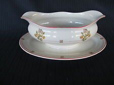 St Albans O P Co Syracuse China Gravy Boat No RR back stamp, MPRR Pattern Scarce