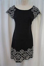 M60 Miss Sixty Dress Sz 0 Black White Floral Embroidered Career Cocktail Dress