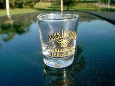 JACK DANIEL'S TENNESSEE HONEY WHISKEY  SHOT GLASS   BLACK/YELLOW  LETTERS & BEE