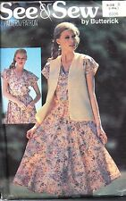 UNCUT Vintage Butterick Sewing Pattern Misses Reversible Vest Dress 6395 See Sew