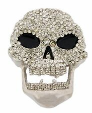 Skull Belt Buckle Big Mens Tribal Gothic Tattoo Silver Rhinestone Metal Fashion