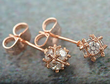 Exquisite 9K Rose Gold Filled CZ Stud Earrings,G1442