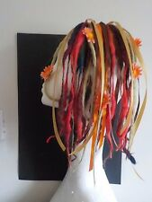 Wool Dreads short hair falls warm blonde red browns, festival flowers kawaii