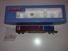 JOUEF - SNCF -  WAGON  PLAT  PORTE CONTAINERS - Ech HO -Ref:HJ 6065 - NEUF -
