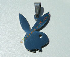 Pendentif Lapin Coquin Play Boy Sexy Argenté Pur Acier Inoxydable + Chaine