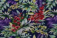 100% Viscose Voile Club Tropicana Print Dress Fabric Material (Airforce)