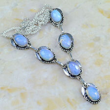 """NEW STUNNING STERLING SILVER BLUE LAB OPALITE 925 OVERLAY NECKLACE 19 & 1/4"""""""