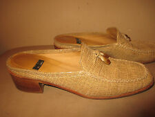 Women's Stuart Weitzman Beige Lizard Print Leather Slides Mules Shoes 8 1/2 AA.