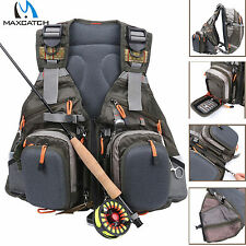 Maxcatch Adjustable Fly Fishing Vest Multi-pocket Backpack Outdoors Mesh Bag