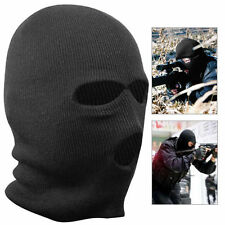Black Balaclava Mask Warm 3 Hole Winter SAS Style Army Ski Hat Neck Warmer
