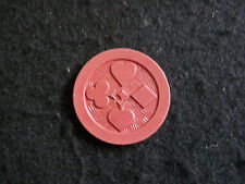 Antique Poker Chip 4 Suits in Cards Red Clay Vintage Rare Old Gambling Game Gift