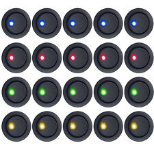 20 X 12V Car Round Dot Blue/Red/Green/Amber LED Light Rocker Toggle Switch Sales
