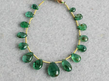 Natural Medium Green Emerald Smooth Plain Pear Briolette Gemstone Beads 008