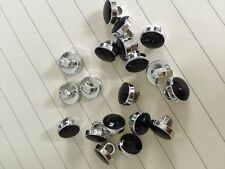50 x dress shirt buttons black with silver trim shank on back 9mm