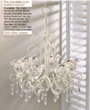 Hanging Crystal Chandelier Candle Shabby Holder Chic Light Wedding Outdoor Iron