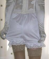 Vintage inspired white silky nylon gusset frilly bloomers knickers panties