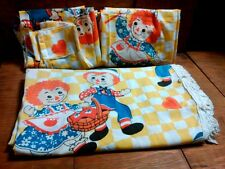 Vintage JC Penney Raggedy Ann & Andy Bed Spread and Two Sets of Curtains USA