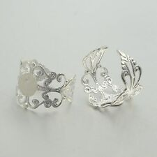 15pcs Adjustable Brass Filigree Ring Setting Components Pad Bases Silver 20mm