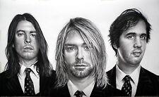 Nirvana - ritratto portrait grafite e carboncino cm. 90 x 55