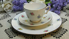 "Crown Staffordshire Teacup Saucer & 8 1/4"" Tea Plate Bouquets of Spring Blooms"