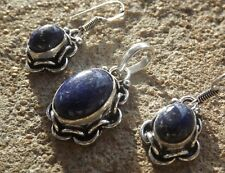 Handmade ethnic silver plated earrings and pendant with lapis lazuli cabochons
