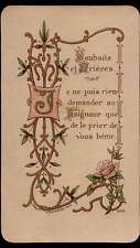 GREETINGS AND PRAYERS - FLOWERS Antique HOLY CARD - Wax Paper