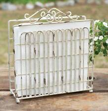 COUNTRY PRIMITIVE RUSTIC ANTIQUE WHITE GARDEN GATE NAPKIN HOLDER