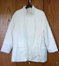 Women's 3X White Ivory Winter Jacket Reversible Water-Proof Fur ROAMAN'S 2X Zip