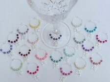 50 Multi Colour Pearl/Butterfly Wine Glass Charms. Wedding. Favours. Parties.