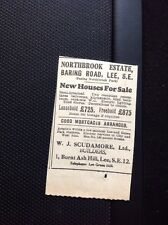 Ephemera 1930 Advert Houses For Sale Northbrook Estate W J Scudamore Lee M13