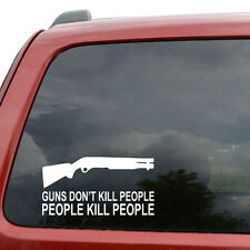 "Guns Don't Kill People Car Window Decor Vinyl Decal Sticker- 6"" Wide White"