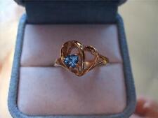Estate Vintage 10K  Yellow Gold .33 CT Genuine Blue Topaz Ring Designer Signed