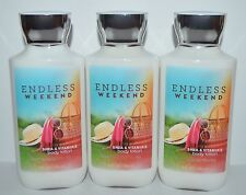 LOT OF 3 BATH & BODY WORKS ENDLESS WEEKEND LOTION CREAM SHEA BUTTER 8 OZ LARGE
