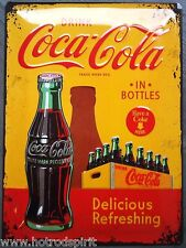 plaque publicitaire coca cola jaune in bottle tole en relief usa diner na23195