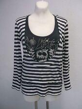 10 FEET Damen Shirt Kapuze Langarm Grau Weiß gestreift Gr. L