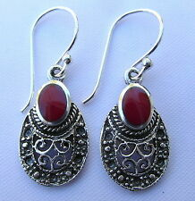 Pair Of  Sterling Silver  (925)  Blood Red  Petra  Dangly Earrings  !!   New !