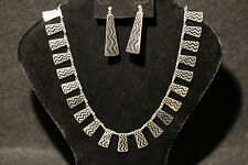 Volmer Bahner Mid-Century Danish Sterling Silver Necklace and Earring Set