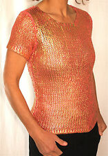 Vintage Oscar De La Renta Painted Metallic Gold Carnation Pink Knit Top, Petite