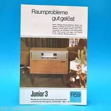 Junior 3 Musiktruhe Transistorsuper 1969 Prospekt Werbung DEWAG Werbeblatt R59 B