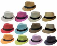 FEDORA TRILBY GANGSTER FEDORA BUCKET HAT MEN WOMEN PAPER STRAW  HAT CAP- SOLID