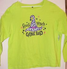 HALLOWEEN WOMENS SHIRT GREEN SMALL 4 - 6 GLITTER LETTERS GOOD WITCH GONE BAD NEW