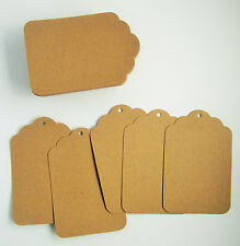 25 scalloped top edged brown kraft card decorative parcel gift tags - 80x120mm